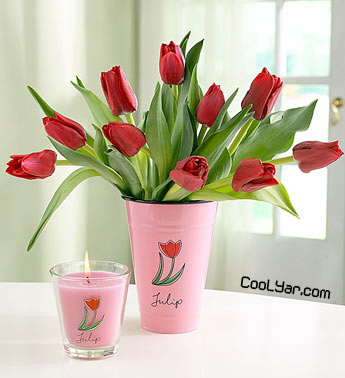 Red Tulips in Enamel Tulip Vase